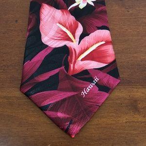 Tropical Hawaii Floral Rose Pink black Tie